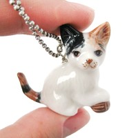 Kitty Cat With Ball of Yarn Ceramic Porcelain Animal Pendant Necklace | Handmade