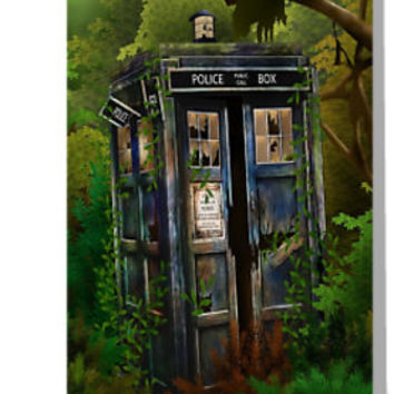 'Abandoned time and space traveller Blue Phone Box' Greeting Card by Arief Rahman Hakeem