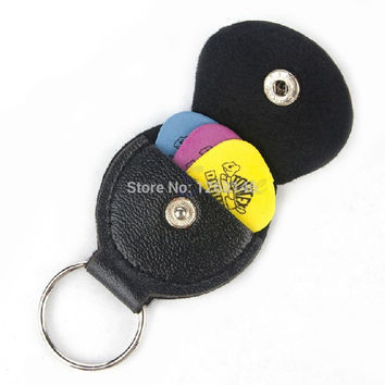 Free Shipping Black Faux Leather Key Chain Style Guitar Bass Picks Holder Plectrums Case Bag