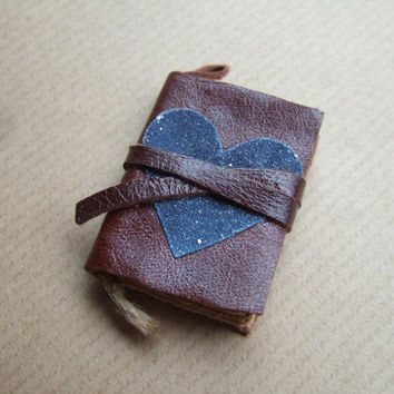 cosmos heart -Book Pendant, Leather miniature book, mini book, old paper, tiny pendant, small book