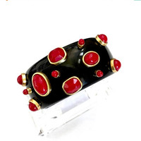 Wide Black Thermoset Hinged Bangle Bracelet, Red Thermoset Cabochons, Gold Tone Mounts, Vintage High Fashion Bangle, Dimensional Cabs
