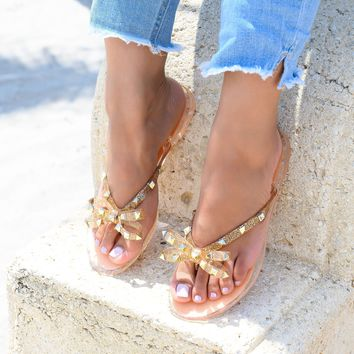 Bow Studded Rose Gold Jelly Sandals