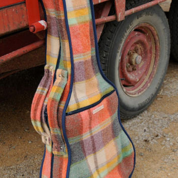 Repurposed Blanket Guitar Case in Multi Colour Check