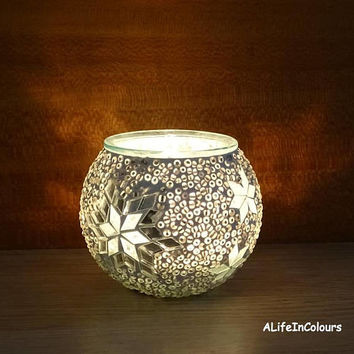 Handmade unique white colour glass mosaic candle holder, pencil holder, little mosaic vase.