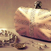 Nude leather pink skull clutch handmade with crystal by BritHeart