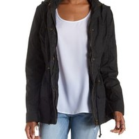 Black Hooded Twill Anorak Jacket by Charlotte Russe