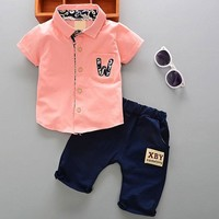 Summer 1 year newborn boy baby gentleman suit clothes sets for boy baby clothes outfits casual sports outerwear 2pcs cowboy sets