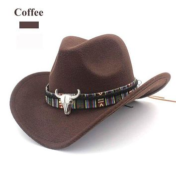41e5c7c7618 Brown Boho Hat Aztec Buffalo Skull Hat Band Wool Wide Brim Fedor