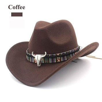 848a16783 Brown Boho Hat Aztec Buffalo Skull Hat Band Wool Wide Brim Fedor
