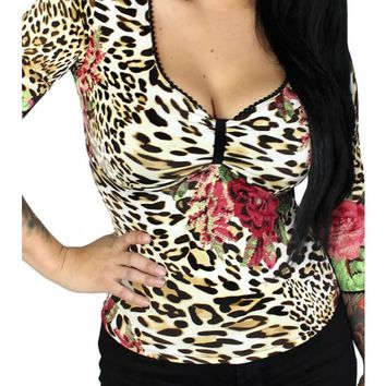 Demi Loon Women's Lilah Leopard Rose Pinup Top