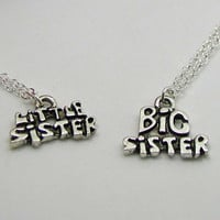 Sisters Necklaces - Big Sister Necklace - Little Sister Necklace - Sisters Charm Necklace - Friendship Jewelry - Best Friends Necklace