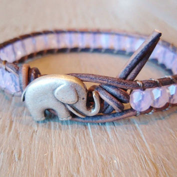"Pink beaded leather wrap bracelet, ""Baby Elephant"", baby pink opal, distressed gray leather, lucky charm, boho chic"