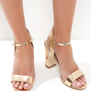 Gold Leather Look Ankle Strap Heeled Sandals