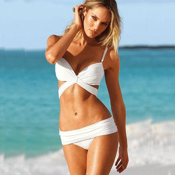 Mesh White Bikini Set High Neck Bandage Swimsuit Strappy Swimwear Sexy Mini String