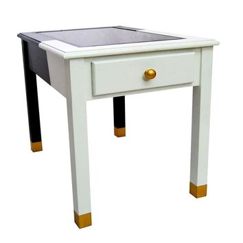 Pre-owned Black, White & Gold Side Table w/Smoky Glass Top
