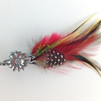 Edelweiss German Hat Pin with Colorful Feather
