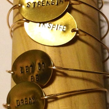 Hand Stamped Brass Inspirational Mantra Personalized Bracelets