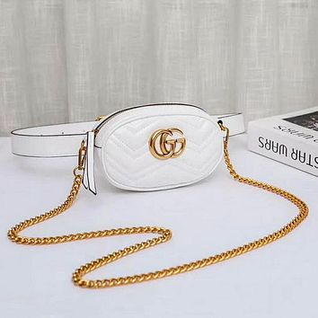 GUCCI Women Fashion New Leather Chain Leisure Shoulder Bag Waist Bag White