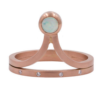 14K Rose Gold Opal Diamond Ring, V Ring, Opal Rose Gold Engagement Ring, Opal Birthstone Ring, Art Deco Ring
