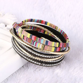 Wrap Multilayer  Bohemian Rhinestone Crystal Leather Bracelet Magnet Bracelets&Bangles For Women Jewelry