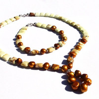 Beaded Necklace Bracelet Set, Chrysoprase Gold Cultured Pearls, Sterling Silver Findings, Lime Green Cream Brown
