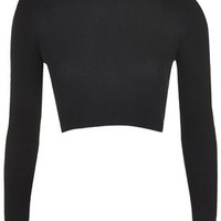 Ribbed Roll Neck Crop Top - Black