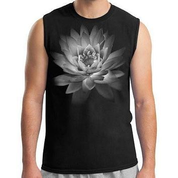 Mens Lotus Flower Muscle Tee Shirt