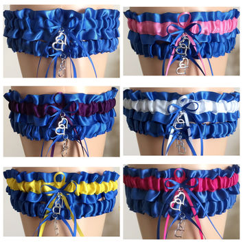 Royal Blue Wedding Garter Set, Prom Garter