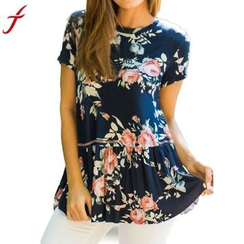 VOND4H Summer Ruffled Floral Printed Flare Short Sleeve Top