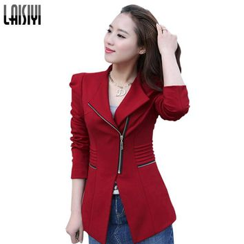 LAISIYI Free Shipping Zipper Slim Business Women Blazer Formal Office Work jacket Cardigans Black Red Yellow plus size 6172