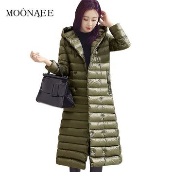 2017 new Long Down coats Winter women's Fashion slim Lightweight Down Jackets Female Parkas Snow Outerwear Plus Size YR15