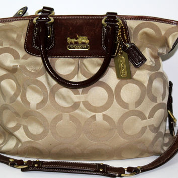 Coach Madison Op Art Julianne Satchel Purse XL #12963 Khaki