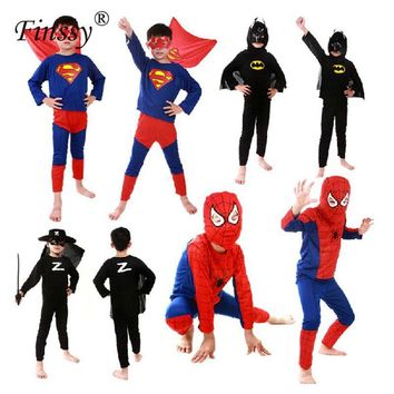 Movie Black Red Spiderman Costume for Boy Batman Superman Cosplay Halloween Costumes for Kids Carnival Costume with Capes Mask