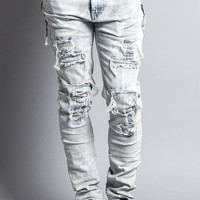 Bleach Washed Distressed Zipper Jeans DL1101 - EE12I