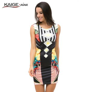 KaigeNina New Fashion Women Dress Prom Cocktail Party Bodycon Tropical Floral Print summer Dress