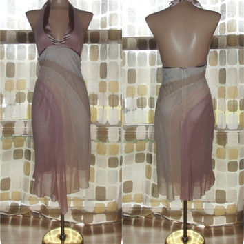 Vintage 90s Retro 30s Silk Nude Art-Deco Halter Dress Cocktail Gown Flapper Gatsby Bebe XS/S
