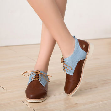 Casual Lace Up Color Block Denim Women Shoes 3671
