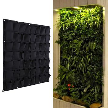 56 Pocket Grow Bags Outdoor Vertical Greening Hanging Wall Garden Plant Bags Wall Planter Indoor Outdoor Herb Pot Decor PTSP