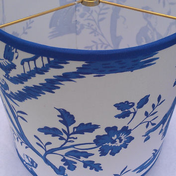 Japanese Drum Lamp Shade,White/Cobalt Blue/Cotton Fabric/Blue Grosgrain Ribbon Trim/Scenic People,Flowers,Chicken,Blue Bird, Music, Umbrella