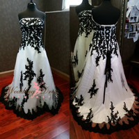Gorgeous Gothic Black and White Wedding Dress 2016 Vestido de Novia Real Image Corset Custom Made Plus Size Wedding Dresses