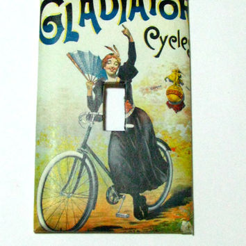 Light Switch Cover - Light Switch Plate Gladiator Cycle French Vintage Bicycle Ad