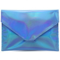 Blue Metallic-Coloured Candy Clutch Bag