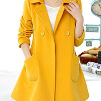Yellow Notched Collar Pocket Details Peacoat