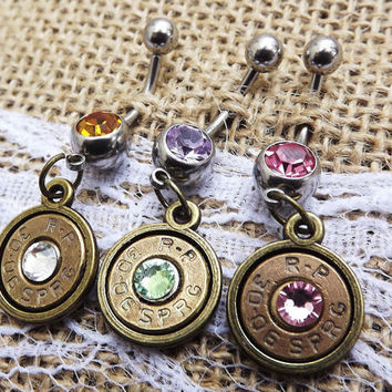 bullet belly button ring, bullet jewelry, brass bullet, country jewelry, country wedding, cowgirl jewelry, 30-06 bullet, gun jewelry, pistol