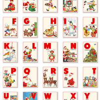 "Digital Christmas ABC flashcards / alphabet flash cards/ downloadable / printable PDF / 3"" by 4.2"""