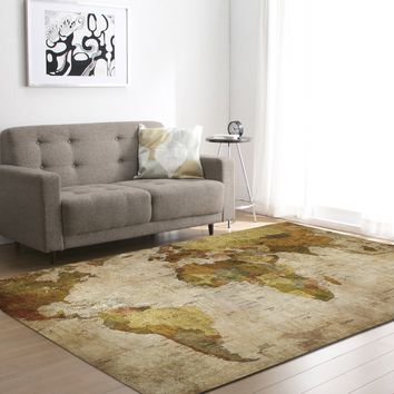 Living Room Carpet World Map Bedroom Pattern Floor Mat 121.9*182.9cm [118170189849]