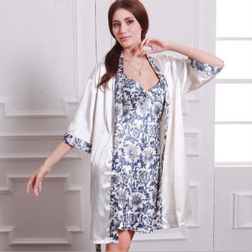 Chinese style Womens faux silk Luxury 2 piece sleepwear sets, blue and white porcelain printed nightgown and robe sets