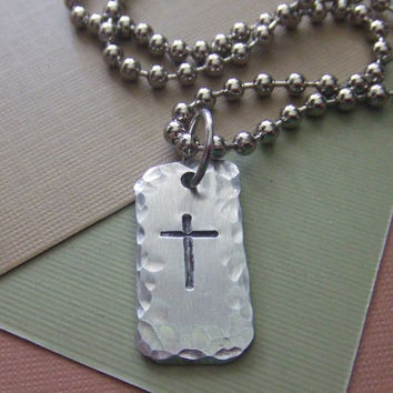Men's Rugged Cross Necklace  - First Communion Confirmation Baptism - Handstamped Rustic Silver Cross