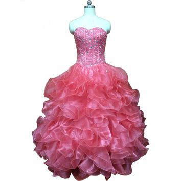 Watermelon Dresses Party Puffy Beaded Cascading Ruffle Dress with Jacket