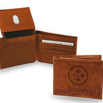 ONETOW Pittsburgh Steelers Wallet Premium Brown LEATHER BillFold Emboss Bifold Football